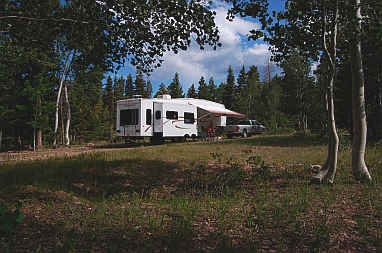 In this shot we are in a beautiful boondocking spot in Kaibab National Forest