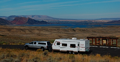 Boondocking is easy and fun if you have the right RV setup and an adventurous spirit.  Here we are boondocked in Flaming Gorge Utah