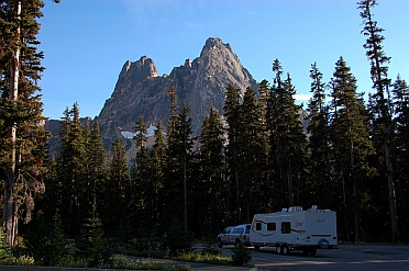 It is easy and legal to boondock your RV at many rest areas like this one at Washington Pass.