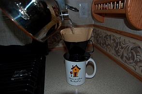 Drip coffee helps conserve electricity when boondocking and dry camping.