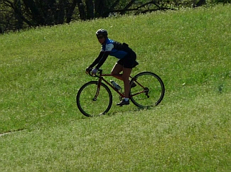 Riding my bike on an Indian Mound on Natchez Trace Parkway, Mississippi