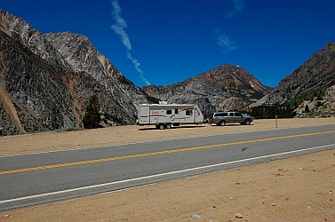 Our truck struggles pulling our RV over Tioga Pass outside Yosemite CA California