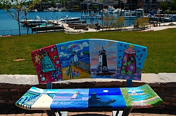 Charlevoix, Michigan painted park bench