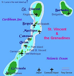 We spent time traveling in the Grenadines.