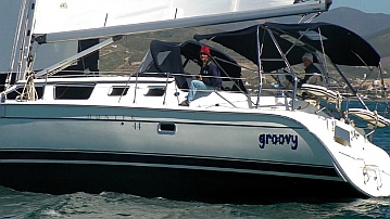 s/v Groovy in a groove in Ensenada Bay, Mexico.