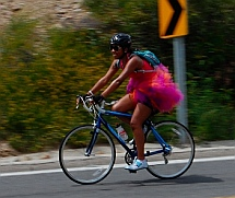 Male bicyclist in a ballerina tutu
