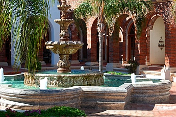 Adobe Guadalupe Winery and B&B courtyard and fountain