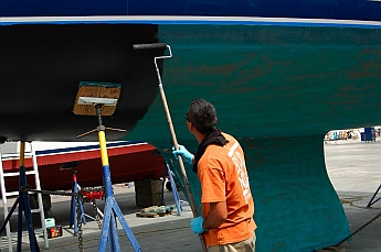 sv Groovy gets bottom paint at Baja Naval, Ensenada, Mexico