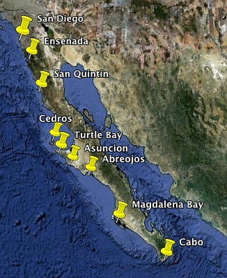 Map of the most popular anchorages on the Pacific Coast of the Baja Peninsula (Pacific Baja Anchorages).
