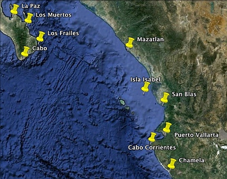 Map of the most popular anchorages and ports on the North Pacific Coast of Mexico.