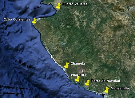 Map of the most popular Gold Coast anchorages in Mexico (also known as the Costa Alegre or Costalegre or Mexican Riviera).