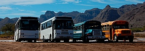 Bus parking lot for Villa Del Palmar workers, Ensenada Blanca, Baja California Sur, Sea of Cortez, Mexico