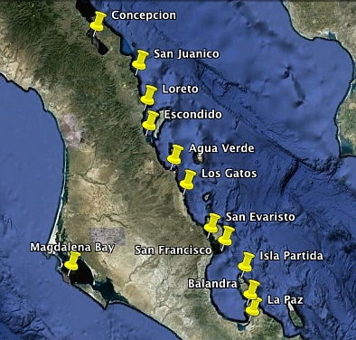 Map of the best Southern Sea of Cortez anchorages and ports.
