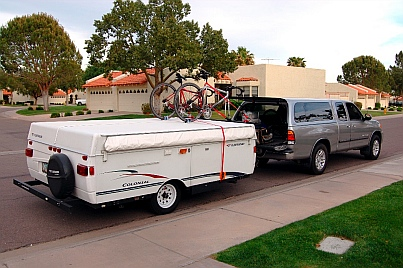 Our first trailer: a Fleetwood Colonial Popup tent trailer with our Toyota Tundra pickup