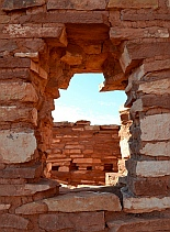 Window in Lomaki Pueblo at Wupatki National Monument, Flagstaff, AZ
