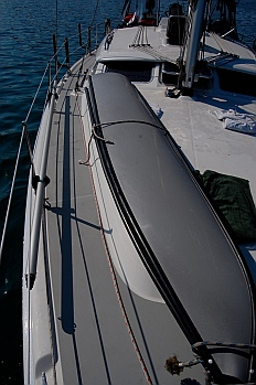Porta-bote rests on foredeck of a 44' Hunter 44DS sailboat