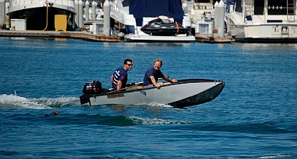This page is a review of the 10' Porta-bote powered by a 6 hp 4-stroke Suzuki outboard. It is used as a dinghy for a 44' cruising sailboat.