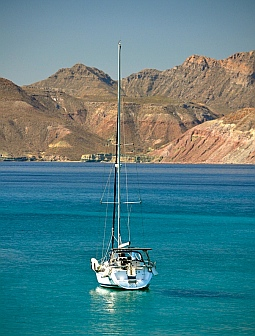 View from Isla Coyote, BCS, Sea of Cortez, Mexico.