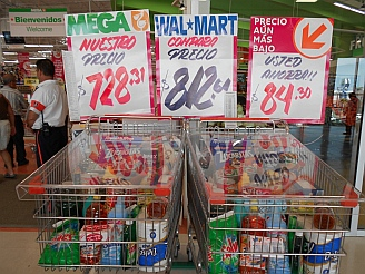 The Mega supermarket claims to be cheaper than nearby Walmart in La Paz, BCS, Mexico