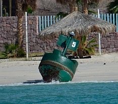 Channel Buoy #5 gets blown ashore in the channel outside La Paz, BCS, Mexico