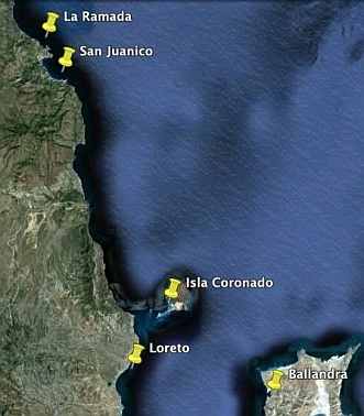 Map of the best anchorages to the north of Loreto (Sea of Cortez Mexico).