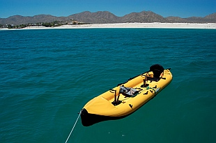 Our Hobie i14t inflatable tandem kayak in Puerto Balandra, Mexico