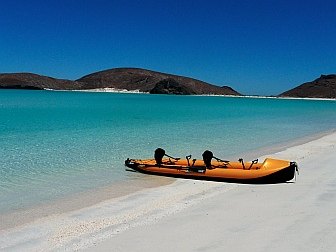 Our Hobie i14t kayak on a beach in the Sea of Cortez