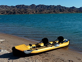 Hobie i14t inflatable tandem kayak at Lake Havasu, Arizona