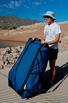 The Hobie i14t inflatable tandem kayak in its folded and stored postion stands taller than expected.