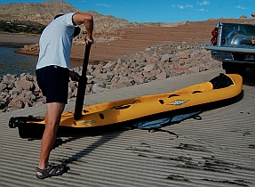 Inflating a Hobie i14t inflatable tandem kayak