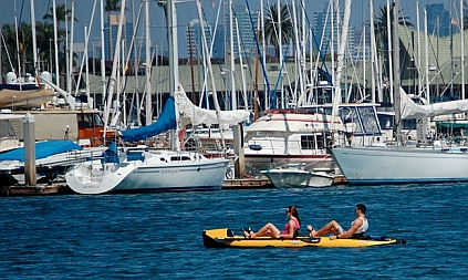 Pedaling around San Diego Bay on a Hobie i14t inflatable tandem kayak