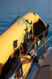 Hobie i14t inflatable tandem kayak at rest in the Garhauer racks