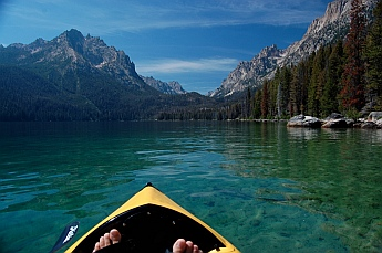 Pedaling the Hobie i14t inflatable tandem kayak in Redfish Lake, Idaho.