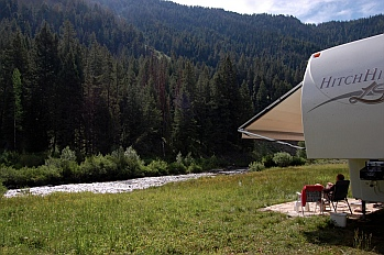 The Sawtooths National Forest around Sun Valley has tons of great RV camping locations.