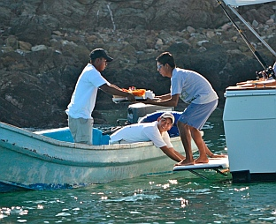 Catered food delivery at Ixtapa Island, Mexico.
