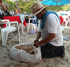 Shelled peanuts (cacahuates) vendor on Las Gatas Beach, Zihuatanejo, Mexico.