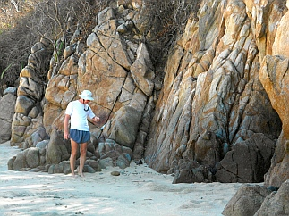 Exotic rock formations at San Agustin (Puerto Sacrificios), Bays of Huatulco, Oaxaca, Mexico