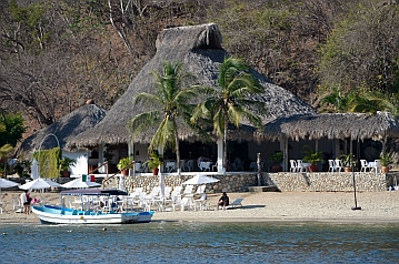 Palapa beach bar in Santa Cruz near the Cruise Ship dock in Huatulco