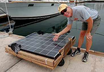 The boat's solar panels are ready!