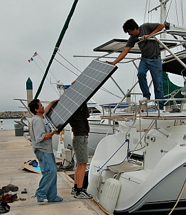 Installing solar panels on a sailboat