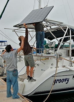 Installation of marine solar power system