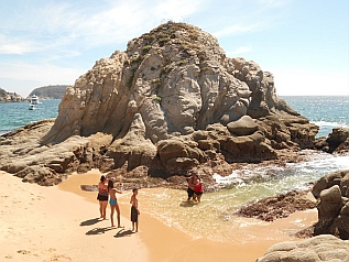 Craggy rock outcroppings at Tangolunda Bay, Huatulco, Mexico
