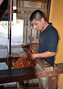 Zapotec weaver displays his techniques at Santa Cruz, Huatulco, Mexico