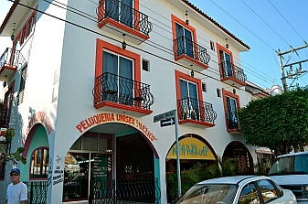 Brightly painted quaint buildings of La Crucecita in the Bays of Huatulco, Mexico