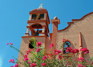 The town church in La Crucecita Bays of Huatulco, Mexico