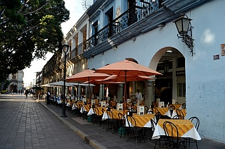 Outdoor eateries on the Zocalo in Oaxaca, Mexico