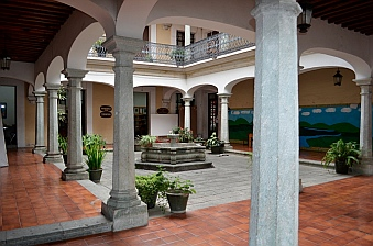 City library courtyard in Oaxaca, Mexico