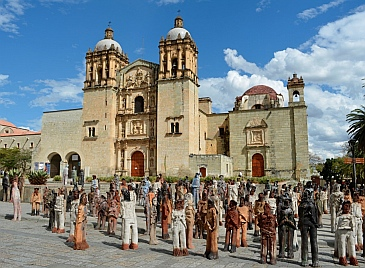 Odd sculptures in front of the Santo Domingo Cathedral in Oaxaca, Mexico