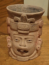 Sculpted clay urn from Tomb #7 at Monte Alban on display at Oaxaca Cultural Center in Santo Domingo Cathedral
