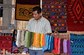Natural wools are dyed with flower or bug based dyes in Teotitlan del Valle, Oaxaca, Mexico